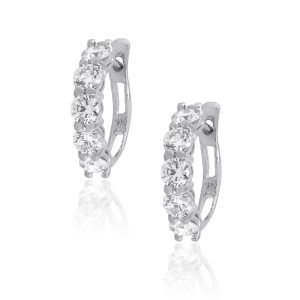 14k White Gold 0.78ctw Round Cut Diamond Small Hoops
