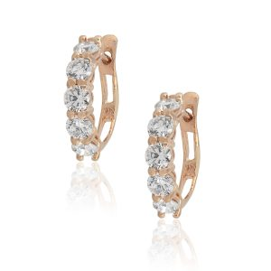 14k Rose Gold 1.78ctw Round Cut Diamond Small Hoops