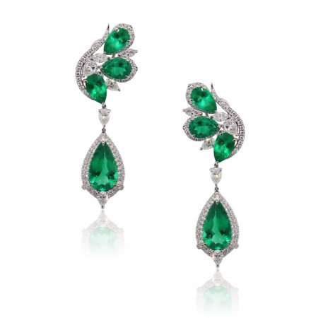 18k White Gold 10.72ctw Emerald and 3.49ctw Diamond Drop Earrings