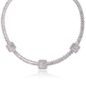 18k White Gold 19.97ctw Multi Shape Diamond Three Square Station Necklace