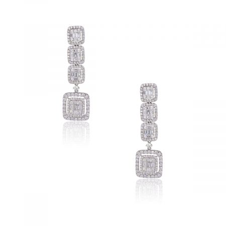 18k White Gold 5.91ctw Diamond Station Drop Earrings