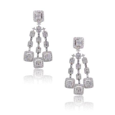 18k White Gold 7.28ctw Diamond Triple Strand Dangle Earrings