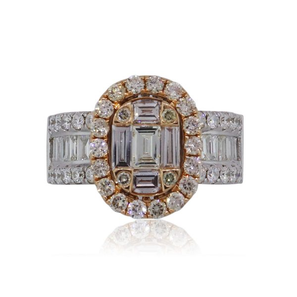 18k Two Tone Gold 2.37ctw Diamond Oval Halo Mosaic Engagement Ring