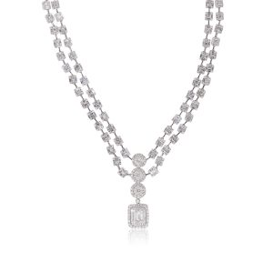 18k White Gold 20.65ctw Diamond Double Strand Dangle Halo Pendant Necklace