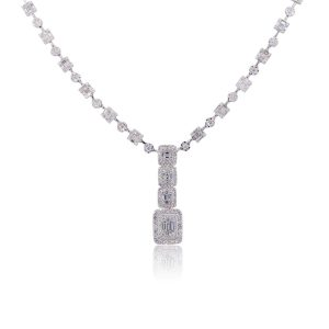 18K White Gold 10.64ctw Diamond Column Link Dangle Necklace