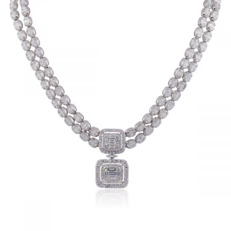 18k White Gold 25.48ctw Multi Shape Diamond Dangle Necklace