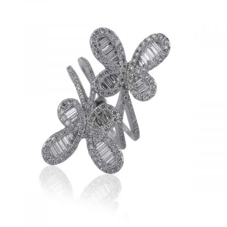 18k White Gold 2.01ctw Multi Diamond Double Butterfly Ring