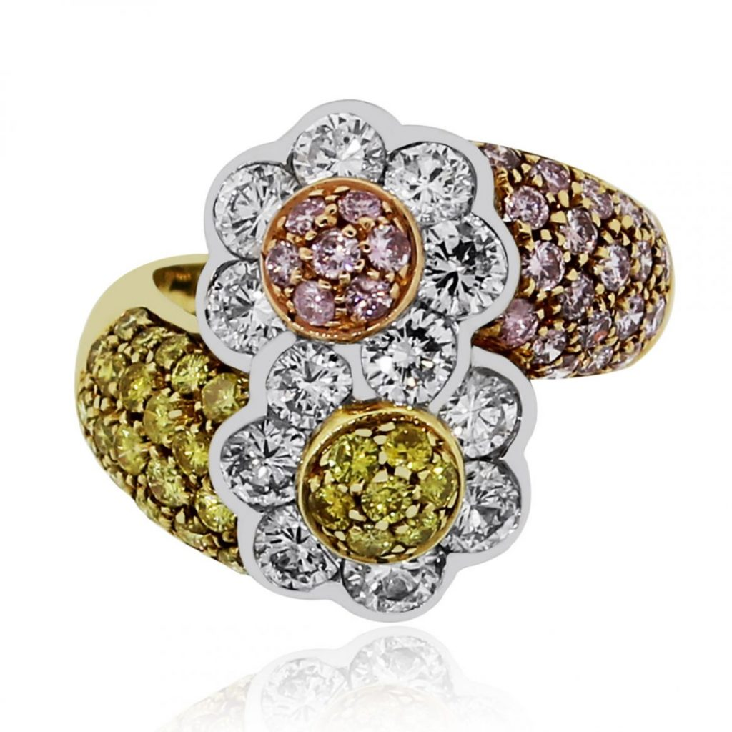 diamond floral cocktail ring