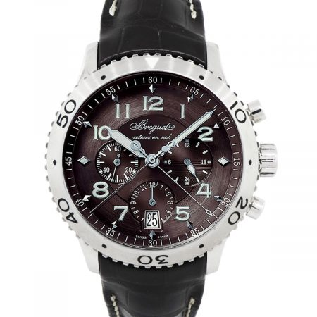 Breguet Transatlantique XXL Flyback Brown Chronograph Dial on Leather Strap Watch