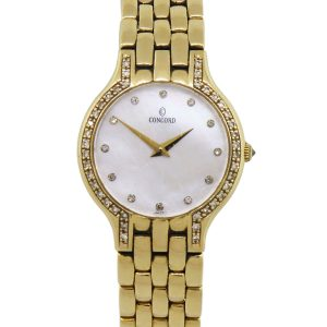 Concord 29-62-266 Les Palais 14k Yellow Gold Diamond Bezel MOP Dial Ladies Watch