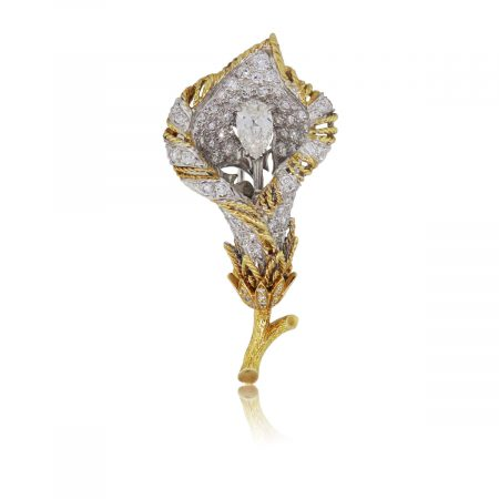 18k Yellow Gold and Platinum 2ctw Diamond Rose Lapel Pin
