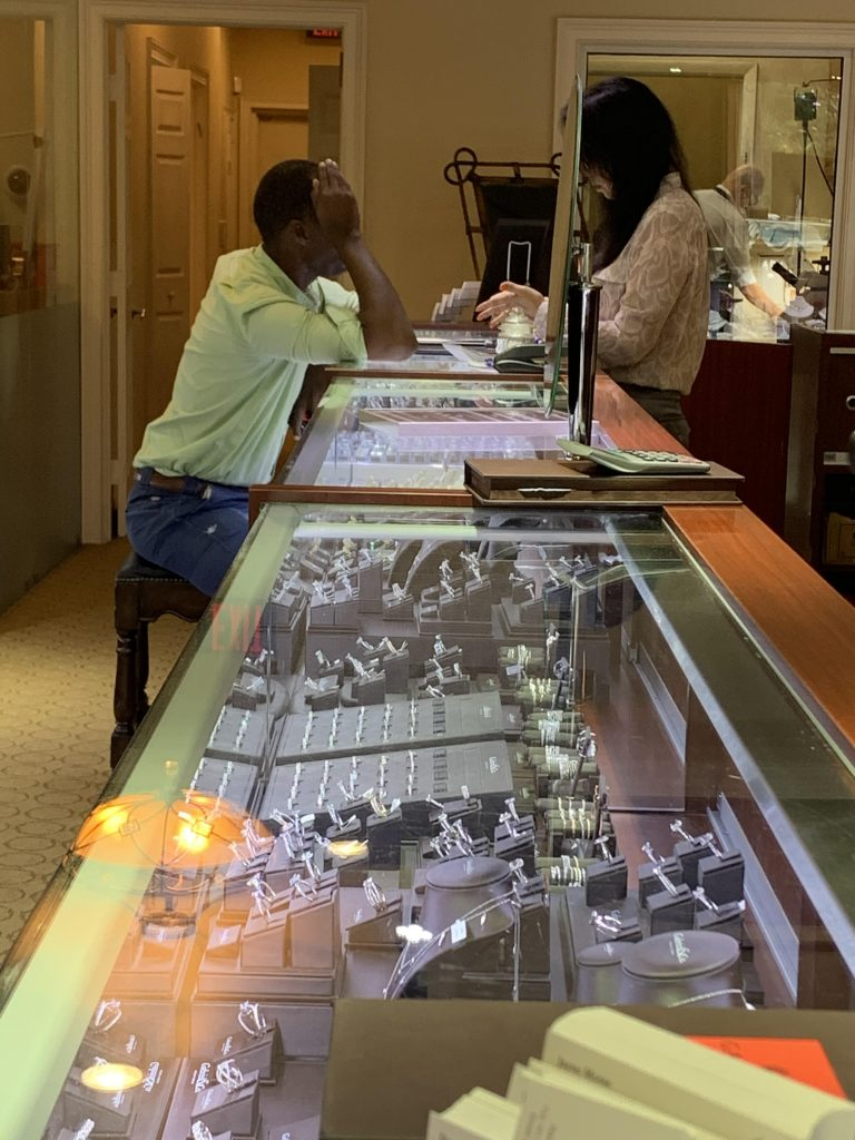 customer at jewelry store for men
