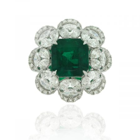 18k White Gold Pave Diamond 4.53ct Emerald Cocktail Ring