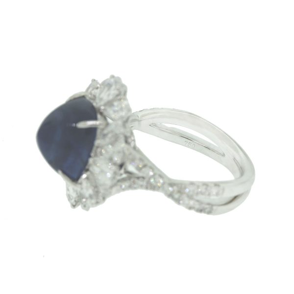 18k White Gold Pave Diamond 7.69ct Sapphire Cocktail Ring