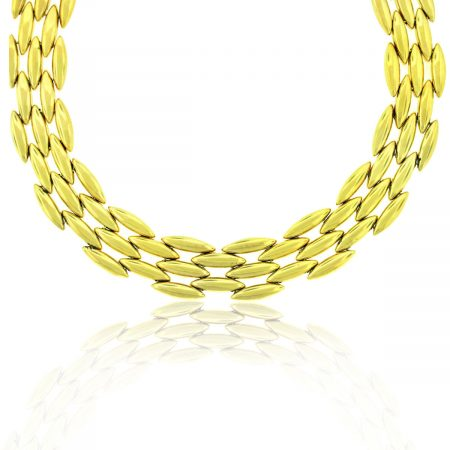 Cartier 18k Yellow Gold Vintage 3 Row Choker Necklace