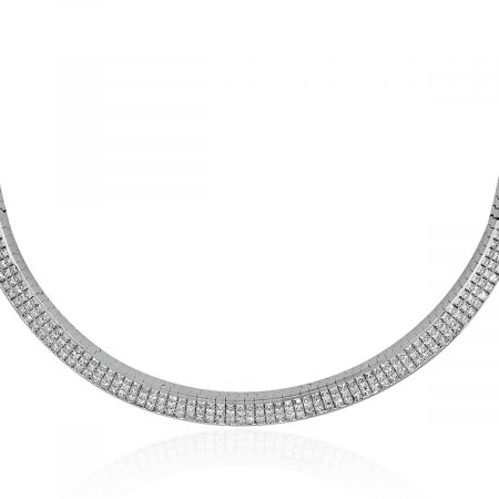White gold diamond collar necklace