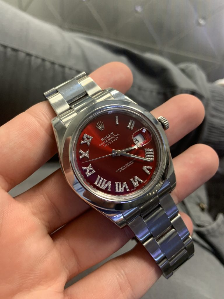 rolex datejust red dial with diamond roman numerals