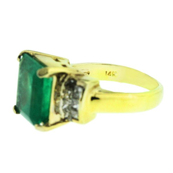 14k Yellow Gold 6.85ct Emerald and 1.19ct Diamond Ladies Ring