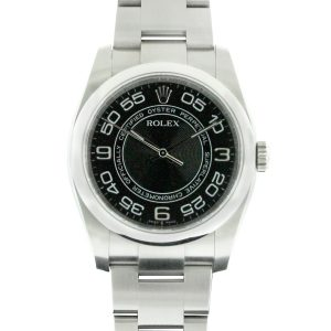 Rolex 116000 Oyster Perpetual Stainless Steel Black Concentric Dial Non-Date Watch