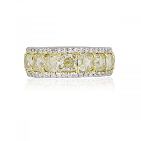 Platinum and 18k Yellow Gold 9.90ctw Fancy Yellow and White Diamond Eternity Band