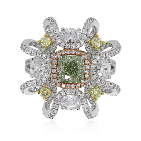 White gold green diamond ring