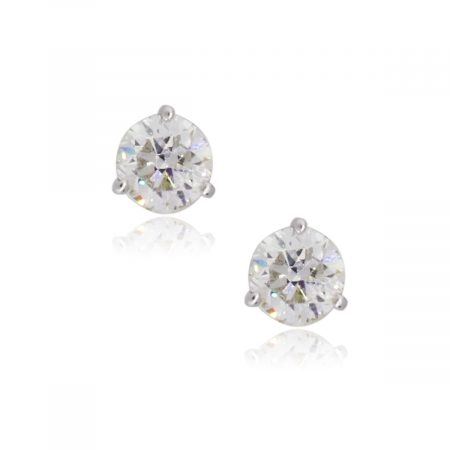 14k White Gold 1.80ctw Round Brilliant Diamond Stud Earrings