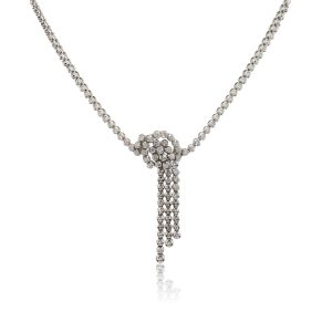 18k White Gold 5.43ctw Diamond Drop Necklace