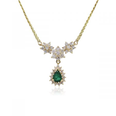 14k Yellow Gold 0.65ctw Diamond and Pear Shape Emerald Pendant Necklace