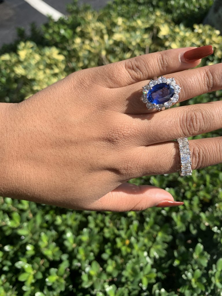wedding ring shop jewelry worn together diamond band wedding ring and sapphire engagement ring