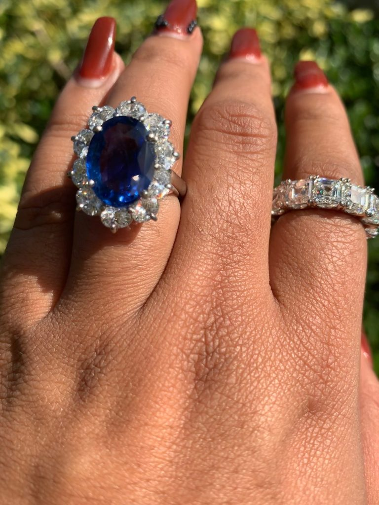 sapphire engagement ring and diamond band