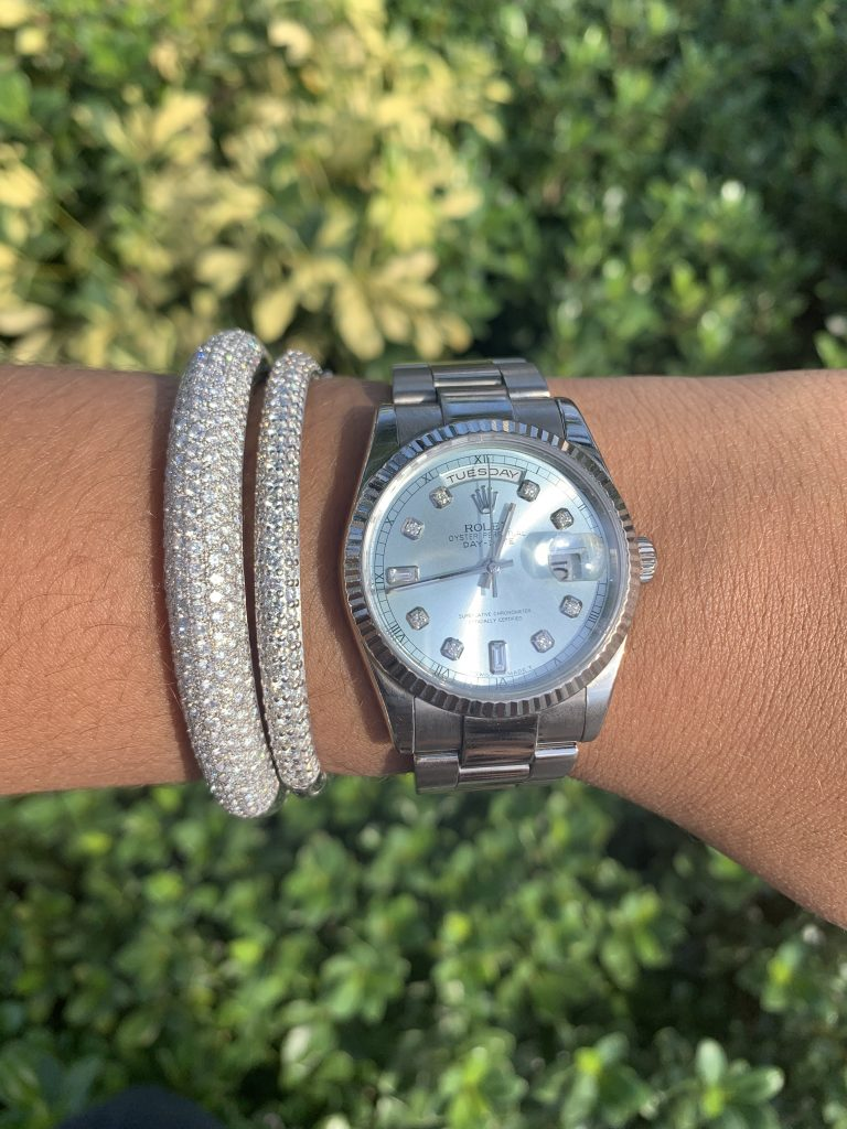 pre owned diamond watches worn with diamond bracelet