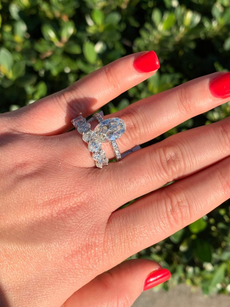 oval engagement ring and eternity ring stack