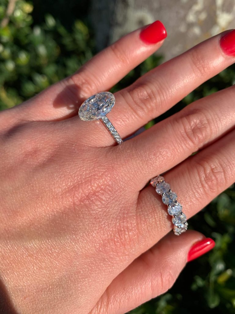 oval engagement rings and oval eternity rings