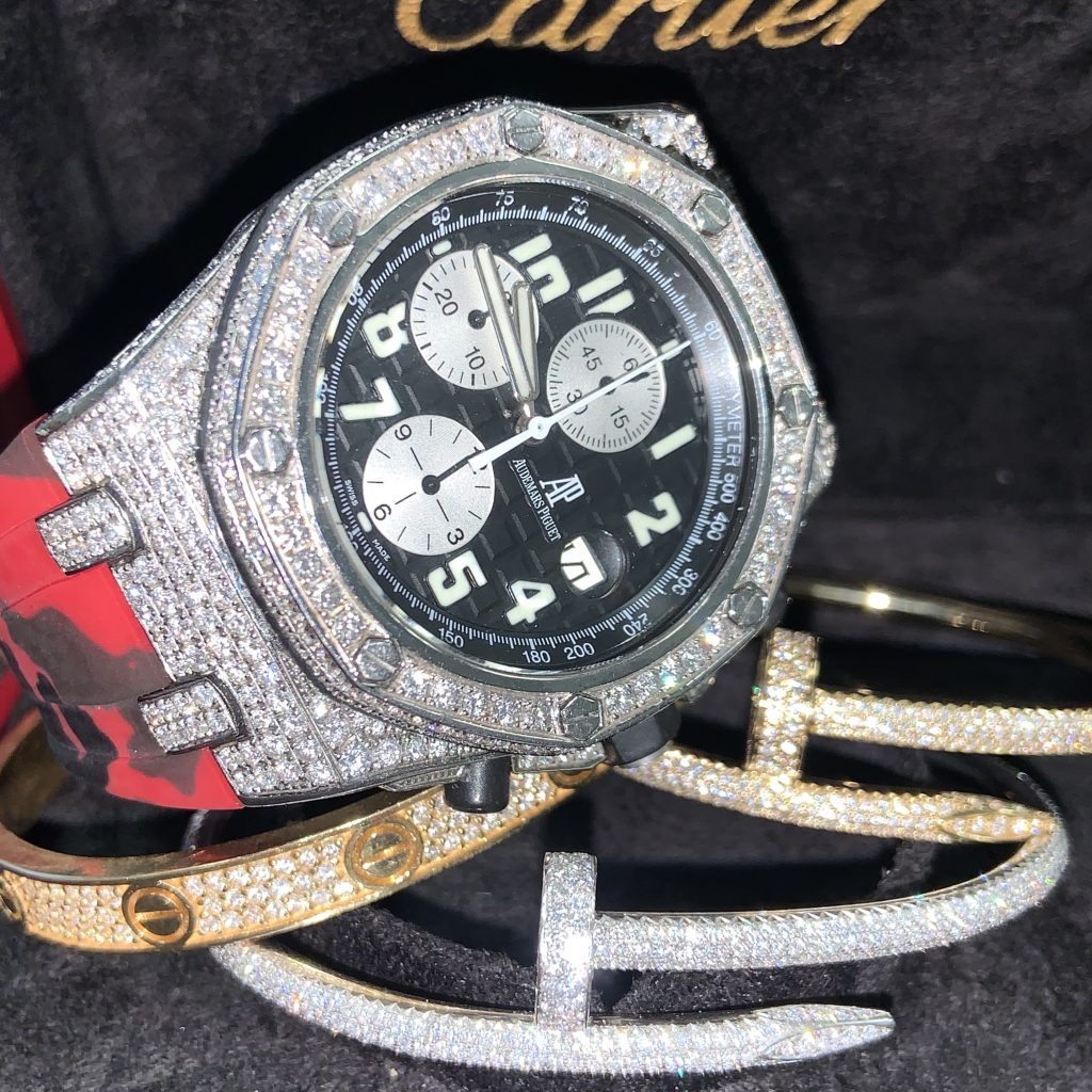 Cartier Bracelets and iced out audemars piguet royal oak offshore watch iced out