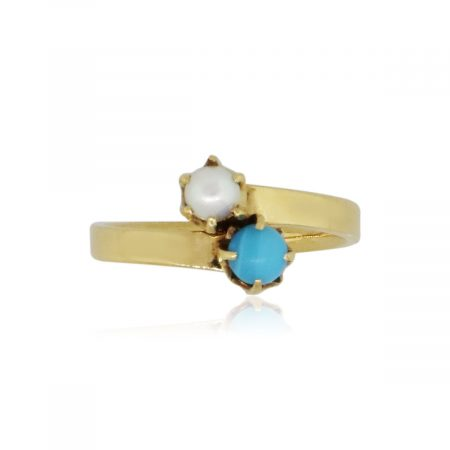 Tiffany & Co. 18k Yellow Gold 4mm Pearl and Turquoise Ring