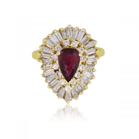 18k Yellow Gold 1.50ctw Diamond and 1ct Ruby Ring