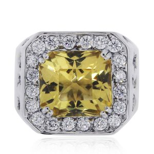 Yellow Sapphire Diamond Mens Ring