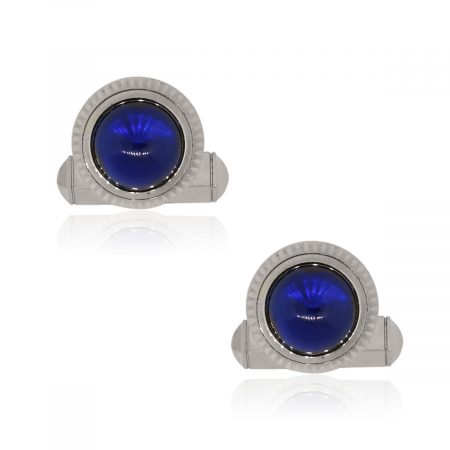 Cartier Sterling Silver Blue Synthetic Spinel Roadster Cufflinks