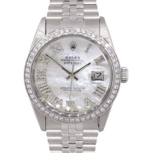 Rolex 16014 Datejust MOP Roman Diamond Dial and Diamond Bezel Stainless Steel Watch