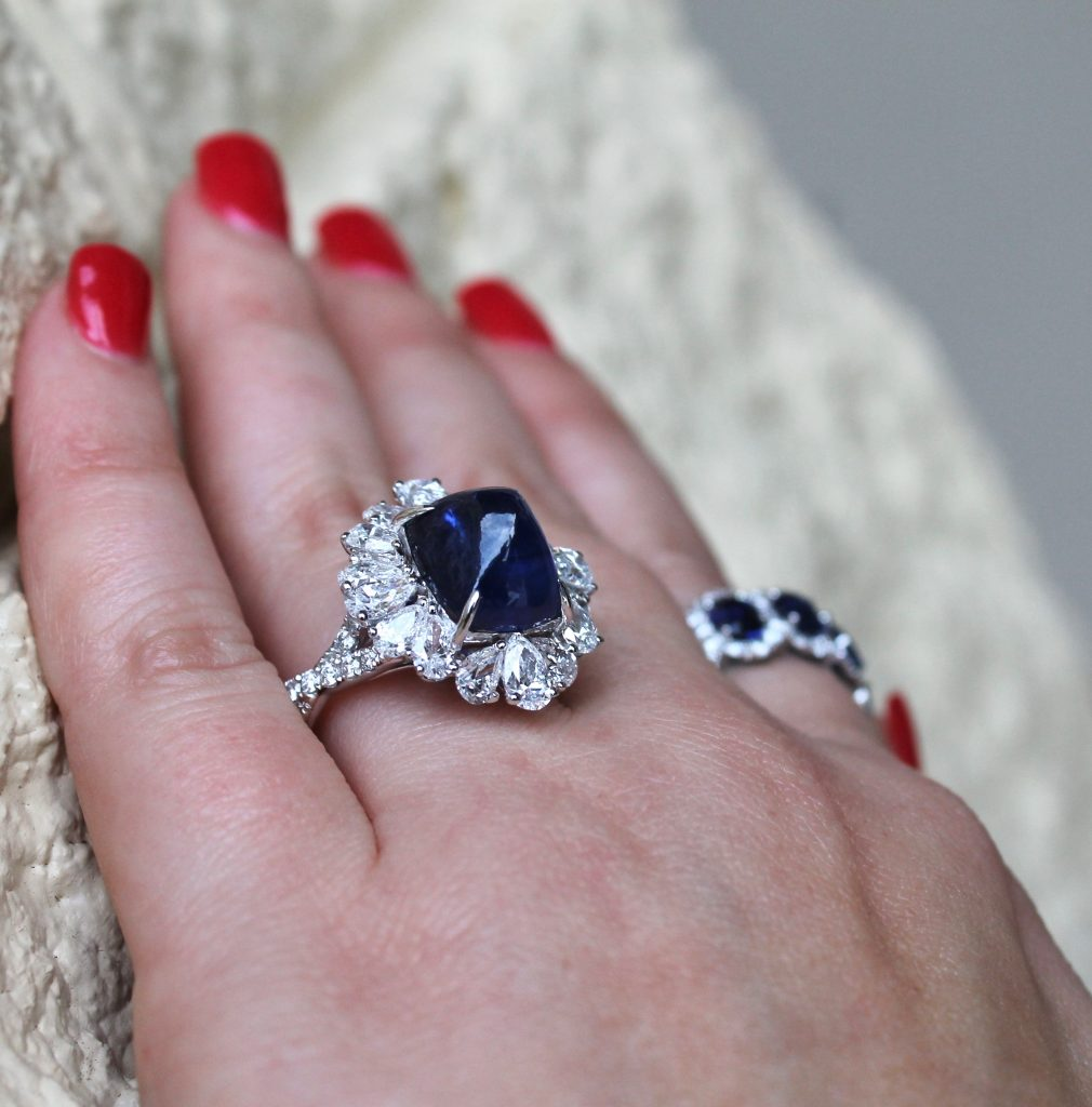 diamond and sapphire engagement and wedding ring