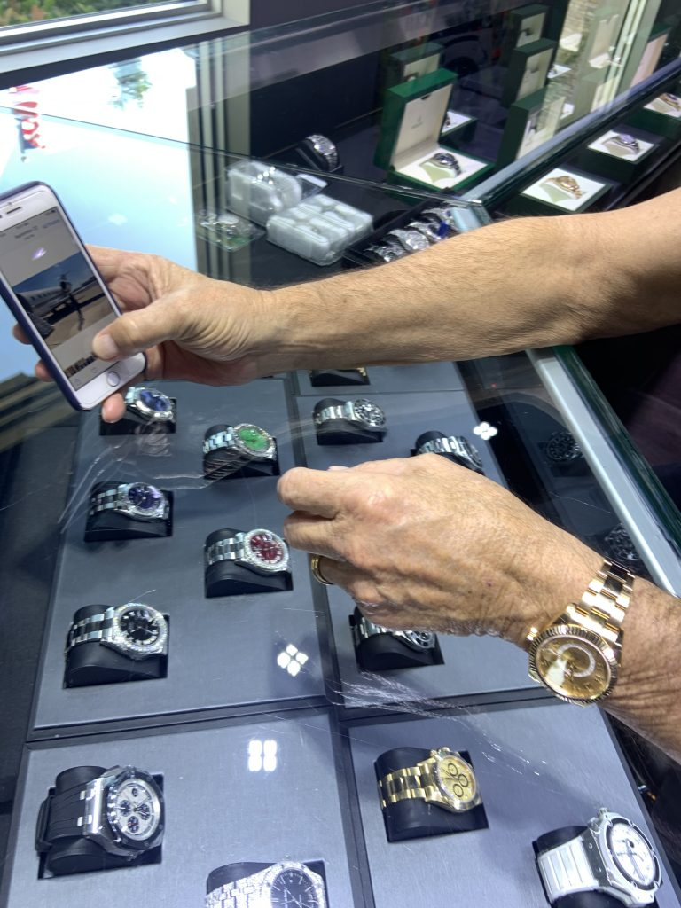 selection at jewelry store and repair location