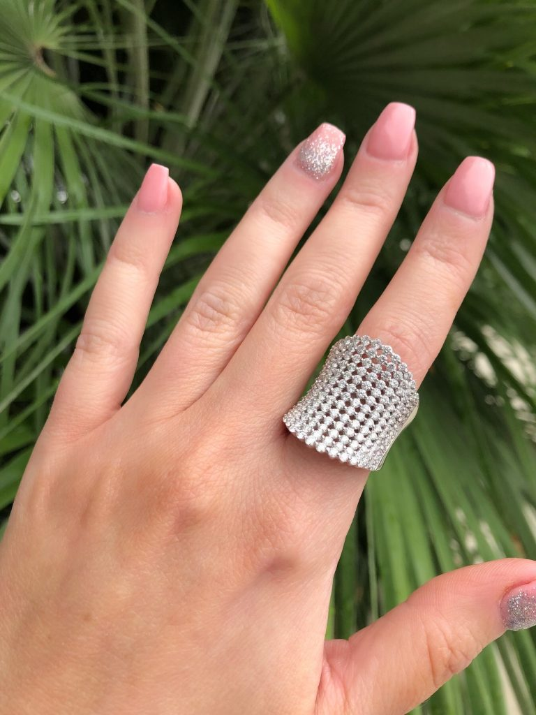 unique ring worn on pointer finger for cocktail ring style