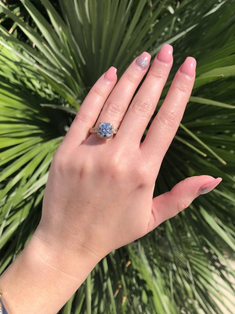 contemporary halo engagement ring