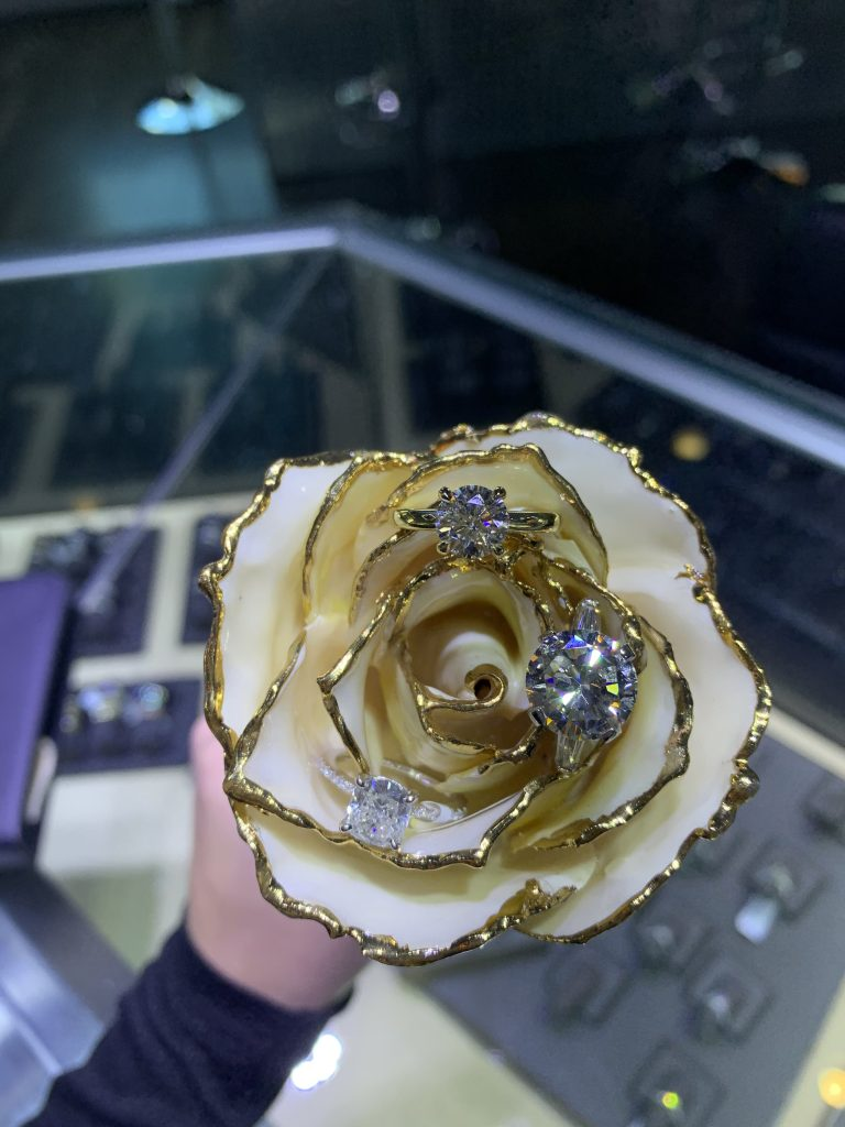 engagement rings at jewelry store in Boca Raton