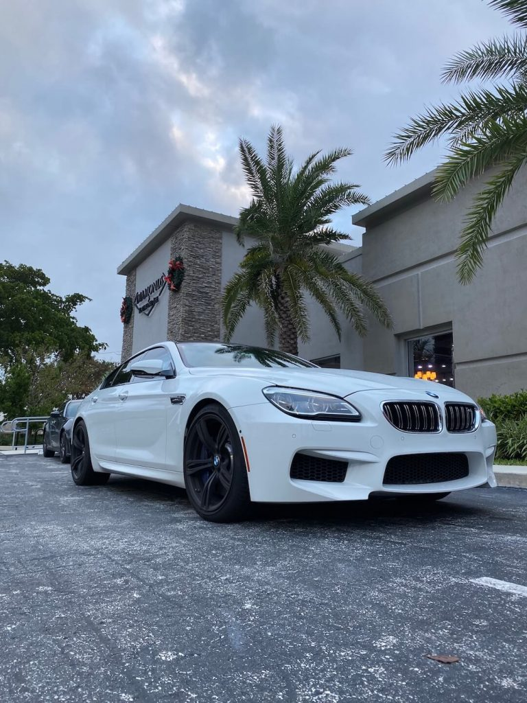 new white BMW m6 gran coupe