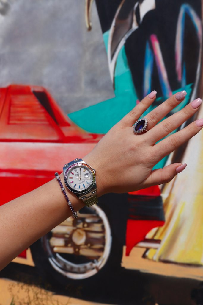 multicolor jewelry and rainbow rolex