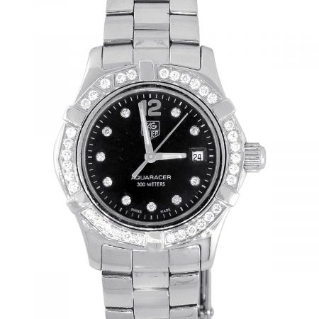 Tag Heuer WAF1414D Aquaracer Stainless Steel Black Diamond Dial Watch