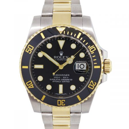 Rolex 116613 Submariner Two Tone Black Dial Wrist Watch