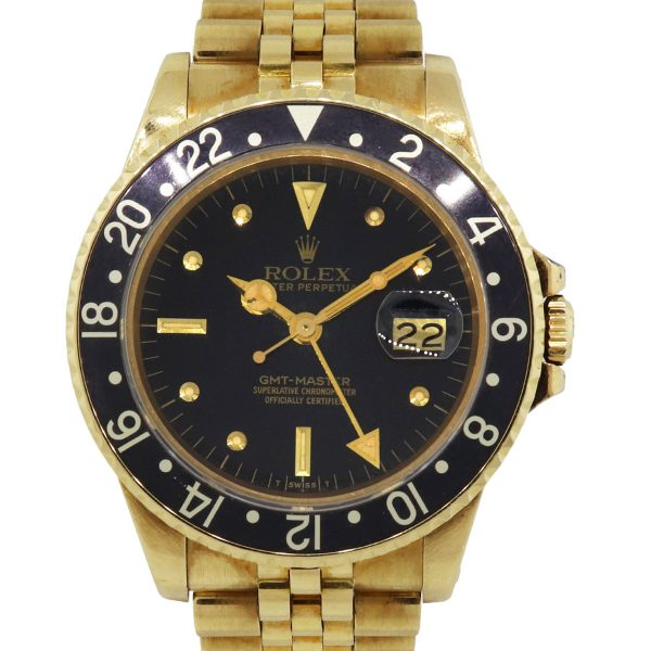 Rolex 16758 GMT-Master 18k Yellow Gold Black Dial Wrist Watch