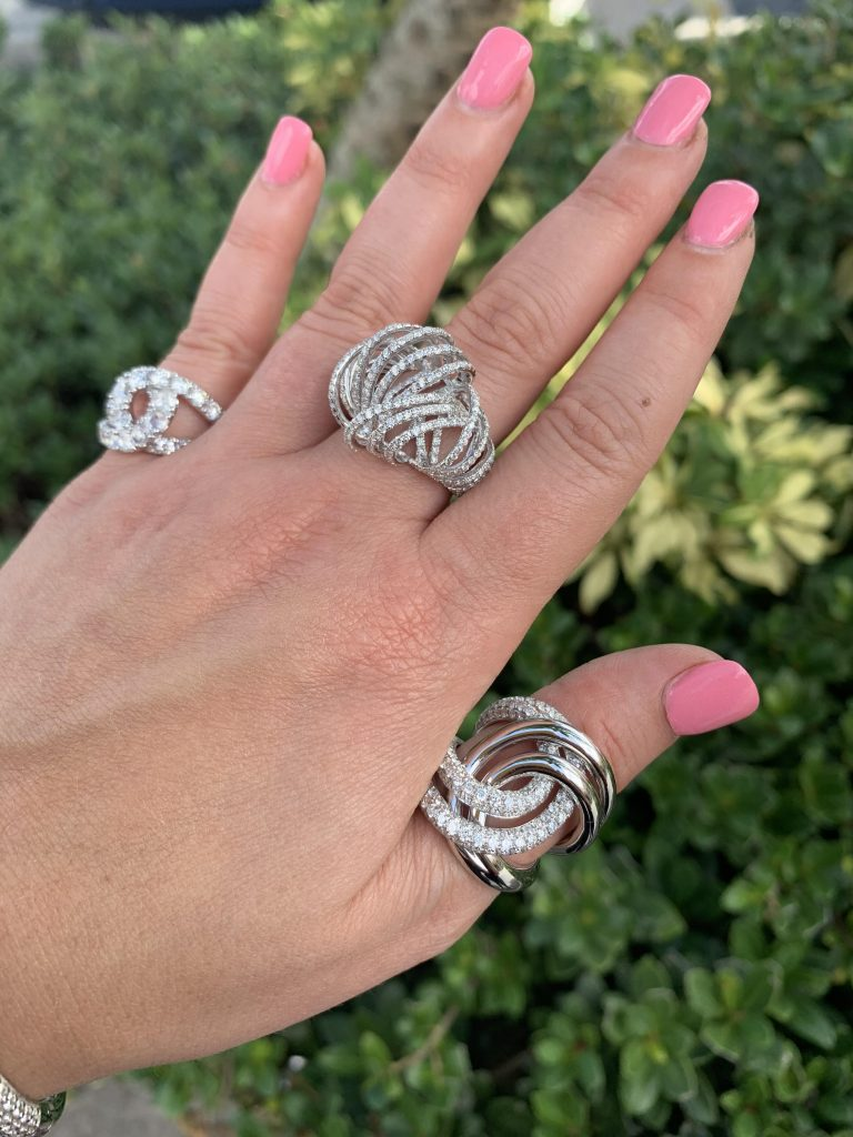 three unique rings worn together